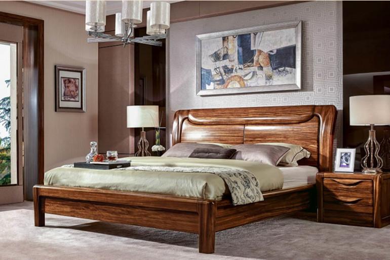 兴叶乌檀木卧室床效果图简洁时尚