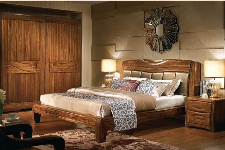 兴叶乌檀木卧室家具组合价格合理